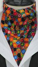 Mens Multicoloured Jewels Design Cotton Ascot Cravat & Handkerchief - Made in UK