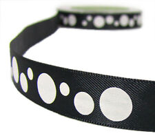 "2 Yards May Arts Bubble Polka Dot Satin Ribbon 5/8""W Black or Pink"