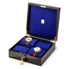 Aspinal of London Harrison Square Four Watch Box in Deep Shine Black Croc