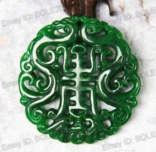 Natural Green Jade Hand Carved Dragon Amulet Hollow Lucky Jadeite Pendants
