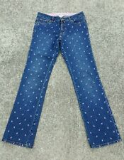 Lilly Pulitzer Strawberry Embroidered Jeans Straight Leg Strectch Size 4 EUC