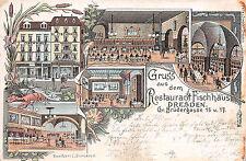 AK Restaurant Fischhaus , Brüdergasse in Dresden Litho Postkarte 1897