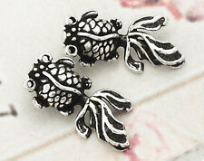 925 Sterling Silver 2  Goldfish Charms 7x16mm.