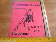 Toxic Bondage Dolls Tender Fury 1980s ORIGINAL Punk Rock concert poster CA