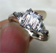 3CT Emerald Cut Three Stone  Genuine Solid 14K White Gold Women Diamond Ring