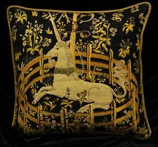 "Piped TAPESTRY SCATTER CUSHION Cover CAPTIVE UNICORN  42cm 17"" Medieval Design"