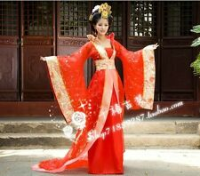 Gorgeous Chinese Traditional Women Dress Dance Costume Trailing Dress Red