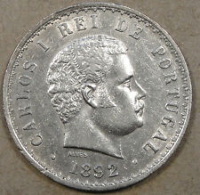 Portugal 1892/1 500 Reis Dipped AU not nearly as scruffy as my picture suggests