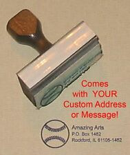 Baseball Rubber Stamp With Custom Address or Message