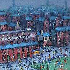 James Downie Original Oil Painting - Northern Town Scene With Football Match