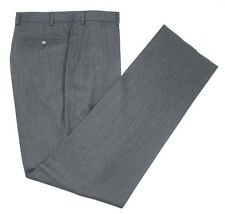 New Italy Harlan Solid Gray Virgin Wool Flat Front Dress Pants 56 / 40 NWT $295!