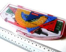 RED Geometry Mathematical Maths Set Kit Protractor Pencil Compass Ruler 10pcs