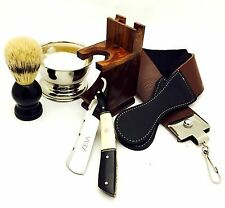 7 PC VINTAGE BUFFALO HORN, CAMEL BONE STRAIGHT RAZOR SHAVING SET KIT IN GIFT BOX