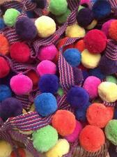 LUXURIOUS LARGE/JUMBO MULTICOLOURED 100% COTTON POM POM TRIM 2cm DIA