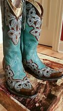 WOMEN'S OLD GRINGO MARRIONE BOOT BRASS/AQUA SIZE 8 B BEAUTIFUL BOOTS!!