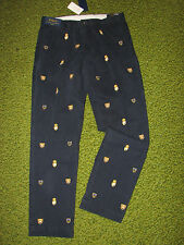 Slim Fit POLO-RALPH LAUREN Navy Chino CREST Pants (34 x 30)  FLAT FRONT""
