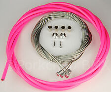 Bicycle 5mm LINED vintage ROAD bike brake cable housing kit  - NEON PINK