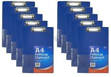 10 x BLUE SOLID A4 CLIPBOARD CLIP BOARD - Clipboards with Pen Holder - Foolscap