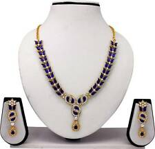 Bollywood Fashion Gold Plated  Multi Color Diamond Necklace Earrings Jewelry Set