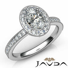 Oval Diamond Engagement GIA F Color VS2 Clarity Halo Pave Set Ring Platinum 1Ct