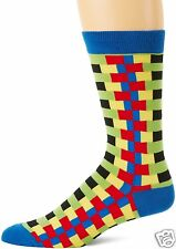 K.Bell Men's Pair Socks Dark Red Blue Yellow Zipper Stripes Cotton Blend NWT