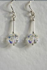 STERLING SILVER 925 EARRINGS Clear AB CRYSTAL 4 Leaf Clover SWAROVSKI Elements