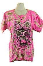 Artsy Art to Wear Shirt Top Batik Bali Barong Dragon Blouse Pink Frayed Boho