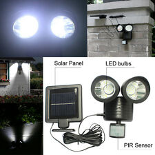 22 LED Solar Powered PIR Motion Sensor Light Dual Head Rotatable Garden Lamp
