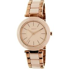 NEW Dkny Women's Stanhope NY2461 Ceramic Beige-Rose Gold Tone Quartz Watch