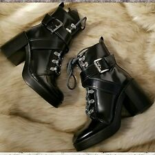ZARA lace up high heel mountain ankle boots Black Size 6 US 36 EUR