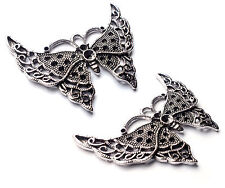 2 x Large Chunky 56mm Silver Butterfly Charm Pendant Connector Embellishment