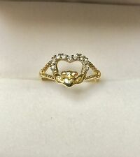 14K Yellow Gold Open Heart Ring With Simulated Diamonds Claddagh