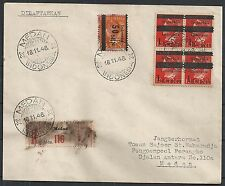 Rep Indonesia 1946 50s Shifted ovpt mixed franked cover Medan
