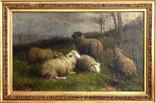 Amazing ca.1891 Listed Artist Sheep & Ram Painting Oil/Canvas/Frame Dated/Signed