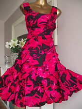 MONSOON PINK/BLACK CARMEL RUFFLE HITCHED UP COCKTAIL WEDDING XMAS PARTY DRESS 18