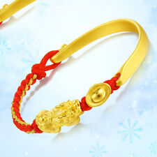 Authentic 24k Yellow Gold Half Bangle with Yuanbao Pixiu Knitted Bracelet 16cm