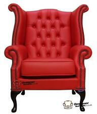 Chesterfield Armchair Queen Anne High Back Wing Chair Flame Red Leather