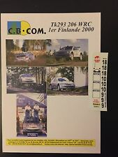 DECALS 1/43 PEUGEOT 206 WRC GRONHOLM RALLYE FINLANDE 1000 LAKES 2000 RALLY