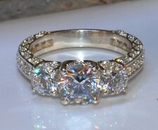 2.42 CT BRILLIANT CUT THREE SOLITAIRE BRIDAL ENGAGEMENT RING IN 14KT WHITE GOLD