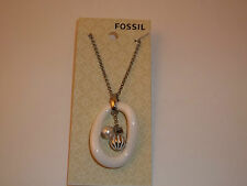 Fossil Jewelry Stainless Steel White Ceramic Pendant Silver-tone Necklace