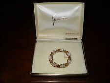 Vintage Boxed GORMAN Gold Filled Cultured Pearl Circular Wreath Brooch