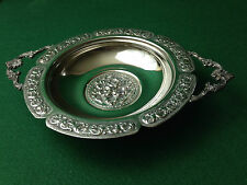 VINTAGE SILVER PLATED TWIN HANDLED DISH FLORAL PATTERN FOOTED WITH 3 BALL FEET