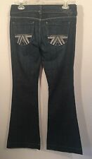 American Eagle 6 Regular Flare Leg Jeans Dark Wash Embroidered Silver Pockets