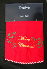 Christmas Tree Skirt Red With Merry Christmas Design Fabric Tree Skirt