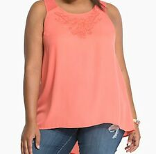 Torrid Embroider Mesh Inset Tank Top Button Back Coral Sz 2 aka 18 20 2X #1650