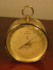 Antique Edwardian Negretti & Zambra London Brass Case Marine Bulkhead Barometer