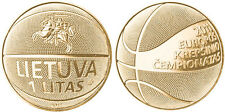 LITHUANIA 24K Gold Plated 1 Litas 2011 Basketball Championship UNC