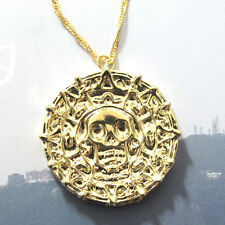 New Pirates of the Caribbean JACK SPARROW AZTEC Gold Coin Medal Necklace