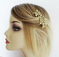 Beautiful Bridal Hair Comb Slide Diamante Faux Pearls Leaf Design Gold Tone SML