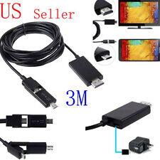 10FT 5Pin & 11Pin Micro USB MHL to HDMI HDTV Cable Adapter For Cell Phone Tablet